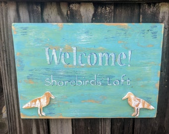 WELCOME! Wooden Sign, Seagulls, Wall Art, Ocean Colors