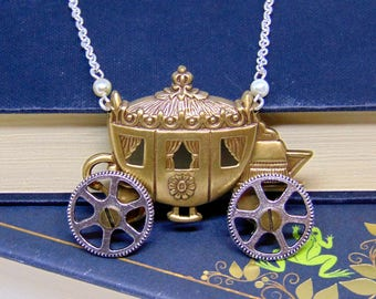 Cinderella Carriage Necklace with Moving Wheels - Fairytale Jewellery - Fairy Godmother - Cinderella Necklace