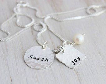 two names mothers necklace, 2 names necklace, push present for new mom, grandmothers necklace, stamped names necklace, square name tag