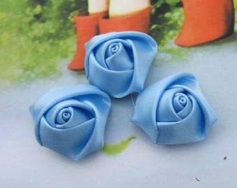 30 small Satin flowers, handmade ribbon flowers, satin fabric flowers, satin rose, Blue Topaz Satin fabric Roses, flower cabochons 20x12mm