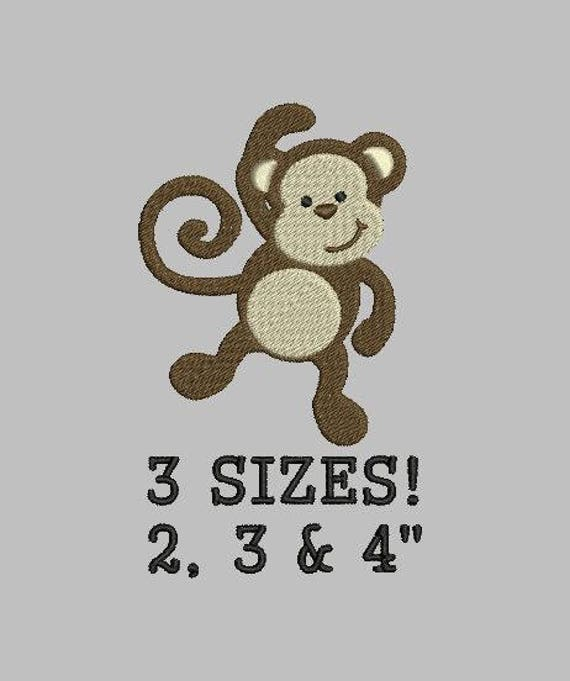 Buy 1 Get 1 Free Monkey Embroidery Design Animal Embroidery Design