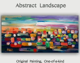 """sale Huge original Oil painting Modern deco Impasto Texture paint on canvas with wooden frame by Tim Lam 48"""" x 24"""""""