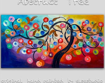 Abstract cherry painting Large Wall art Multi color Oil painting Fancy Blossom home decor wall hanging, canvas art deco by Tim Lam