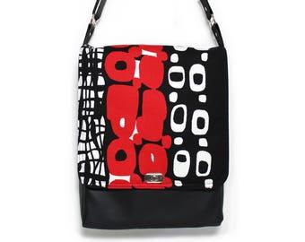 Messenger bag vegan, satchel, vegan leather bag, cross body bag, womens messenger bag, every day bag, vegan purse, red and black, Otto