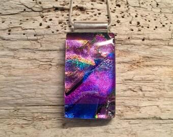 jewelry, handmade, pendant, dichroic glass pendant, glass, necklace, dichroic glass, fused glass, handmade fused glass, glass jewelry