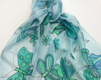 Aqua and Green Butterflies and Flowers hand painted silk scarf. Hand painted silk scarves.  Butterfly Scarf