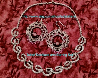 Tatting - Needle Tatted Smoke Gray and Rose colored Beaded Necklace and Earring Set