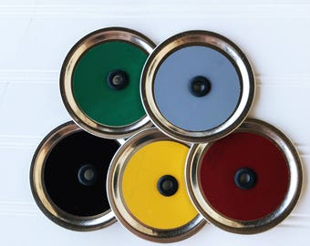 5 colored mason jar drinking lids - DIY