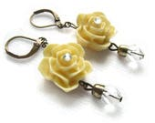Sparkling Vanilla Rose Lever Back Earrings