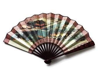 Vintage Japanese Silk Fan - Large Two Sided Silk Screen Chinese Fan - Wall Art- Asian Decor