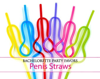 Penis Straws, Penis party straws, Bachelorette Party, Individually Cello Wrapped Favors, 10 straw favors