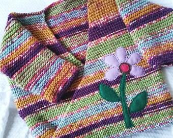 Knit Kimono Sweater, Baby Sweater, Purple Sweater, Pink Sweater