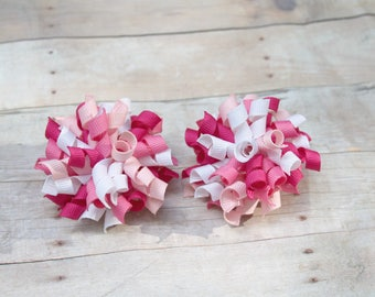 Korker hair bow, pink korker bow, pig tail set, pig tail bows,  mini korker, mini hair bow,  girl hair bow, small hair bow, pink bow,