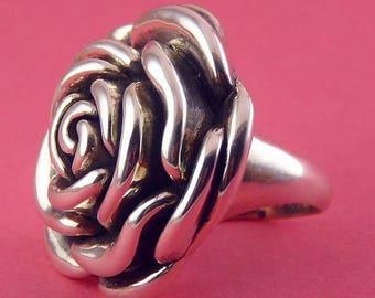 Sterling Silver Full Bloom Rose Ring- Big Bloom