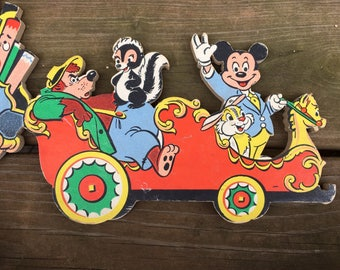Disney character wall hanging 1960's Dolly Toy Pin-Ups cardboard kid's room nursery decor 3 piece set Casey Jr train motif Mickey Donald fun