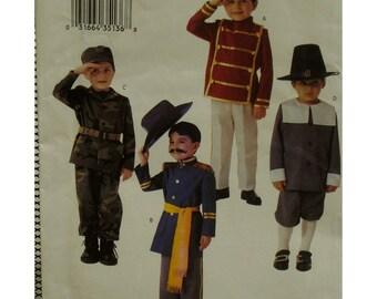 Child's Military Costume Pattern, Soldier, Cadet, Pilgrim, Union Soldier, Pants, Long Coat, Hat, Sash, Butterick No. 3558 UNCUT Size 2 3 4 5
