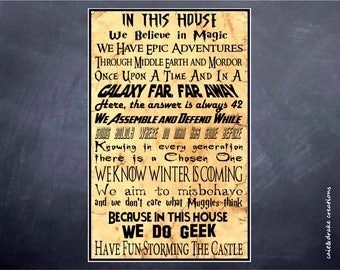 In This House We Do Geek Movie Quote Magic Poster Digital Printable!