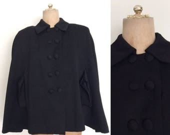 30% OFF 1940's Exaggerated Shoulders Black Wool Cape w/ Double Breasted Buttons
