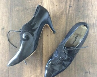 30% OFF 1980's Black Leather Witchy Lace Up Heels Size 8 by Maeberry Vintage