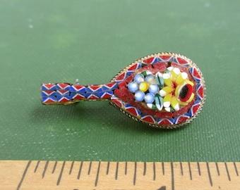 Vintage Micro Mosaic Guitar Mandolin Pin / Brooch - Italy