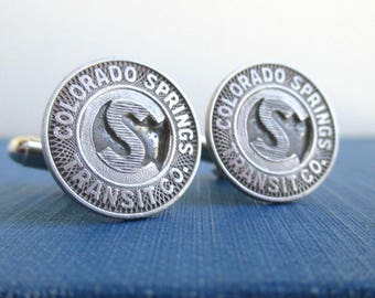 Colorado Springs Transit Token Cuff Links - Vintage Silver Tone CO Repurposed Coins