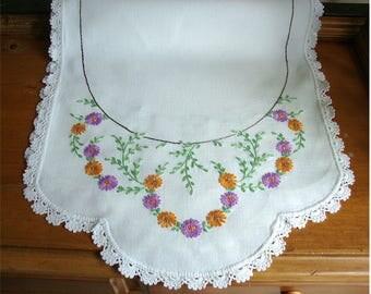 Vintage Hand Embroidered Table Runner Dresser Scarf w/ Hand Crocheted Trim 38 x 14.5 Love