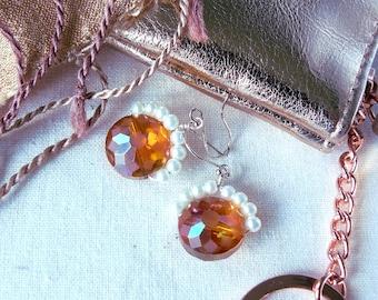 Orange Glass And Pearl Bead Earrings