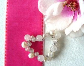 Rose Quartz and Freshwater Pearl Heart Pendant