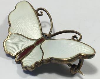 Vintage David Andersen Butterfly Brooch White Guilloche Enamel Early Hallmark