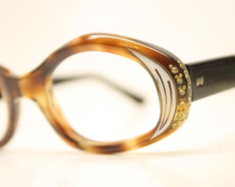 Unused Rhinestone Vintage Cat eye glasses cat eye frames NOS