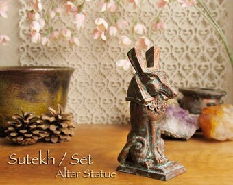 RESERVED LISTING for Lake - Sutekh / Set Animal Small Altar Statue -Sha Form -Deity of the Desert, Storms & Chaos -Aged Copper Patina Finish