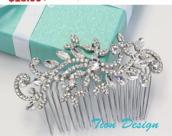 Summer Sale Wedding Hair Comb, Bridal Comb, Vintage Rhinestone Hair Comb Bridal Jewlery HC-11 Free US Shipping