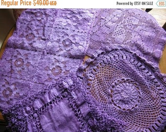 Antique Delicate Lace Doilies in Purple!