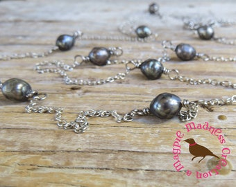 Long Faceted Black Pearl Necklace, Iridescent Black Pearl and Chain Statement Necklace, Black Pearl, by MagpieMadness for Etsy