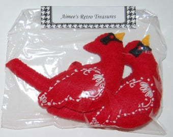 2 Hand Crafted Felt  Christmas Snow Cardinals Birds  Ornaments -White Embroidery