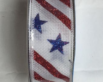 SUPPLY SALE 1.5 Inch RWB Stars Stripes Ribbon S00292-09010-C076, Patriotic Ribbon