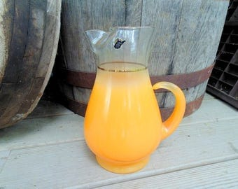 BLENDO Pitcher. Glass Pitcher. UNUSED. w/ label. 1960s. West Virginia Glass. Made in USA. Beverage Pitcher. Orange. Juice. Juice Pitcher.