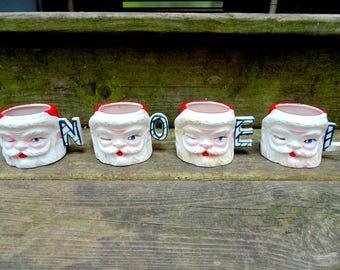 Lipper & Mann. Santa Mugs. Santa Cups. Christmas Santa. Christmas Mug. Mug Set. NOEL. Candle Holders. vintage Christmas. 1950s. 1960s