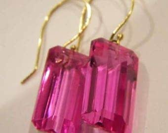 Gorgeous one of the kind  14k solid yellow gold with natural pink Topaz stone earrings