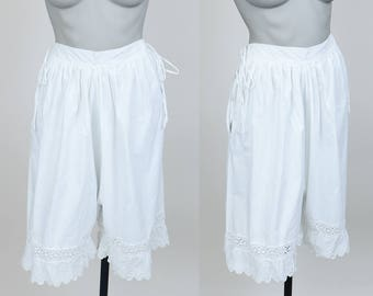 Vintage Edwardian Lingerie / 1910s White Cotton Bloomers M L