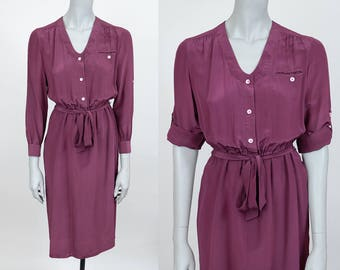 Vintage 80s Dress / 1980s Burgundy Wine Silk Minimalist Roll Tab Sleeve Shirt Dress S