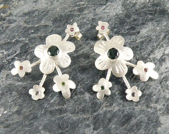 Tourmaline Earrings Spring Blossom, Sterling Silver Flowers Earrings, Silver Post Earrings with Green Tourmaline, Tourmaline Jewelry
