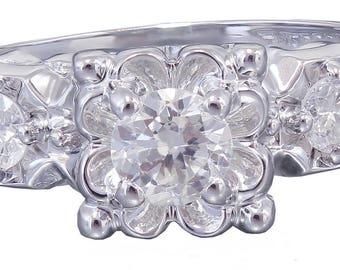 14k White Gold Round Cut Diamond Engagement Ring Art Deco Antique Style, Three Stone, Halo, Wedding, Natural Diamonds, Prong Set 0.60ct