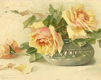 Yellow Rose in Bowl Botanical Artist Signed Vintage Postcard Catherine Klein 1903 Meissner & Buch Publishing