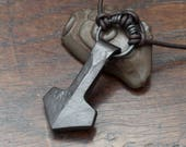 Viking Thors Hammer Pendant, a forged pure iron Mjolnir necklace