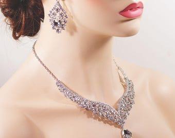 Bridal Earrings Necklace Set, Silver Rhinestone Drop Earrings Necklace Jewelry Set E30