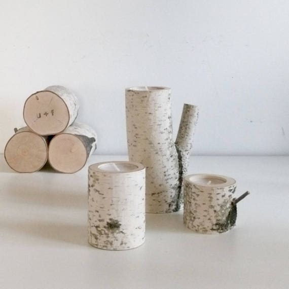 Sale White Birch Wood Candle Holders Set Of 3 Log Candle