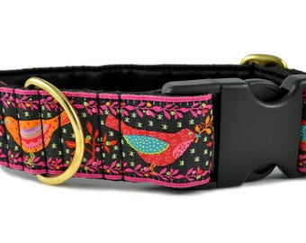"Ready-to-Ship: Birds of a Feather Jacquard in Black & Pink - 1.5"" Buckle Collar - SMALL - Brass Hardware"