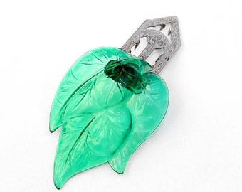 20% OFF SALE - 1930s - 40s Emerald Green Molded Plastic Dress / Fur Clip