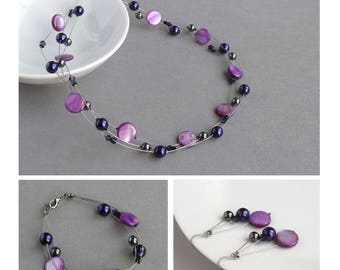 Purple Floating Pearl Jewellery Set - Purple Three Strand Necklace, Bracelet and Drop Earrings - Bridesmaid Gifts - Bridal Party Jewellery